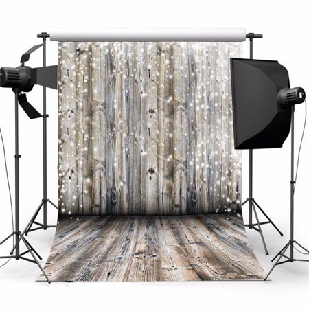 3ft x 5ft Photography Background Screen Backdrop Dreamy Grey Wooden Wall Floor Photo Studio Prop