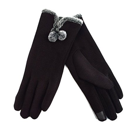 Ladies' Smartphone Accessible Winter Gloves with Faux Fur Pom-Pom Accent