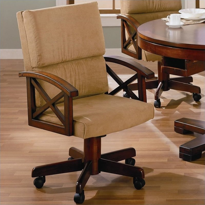 Bowery Hill Upholsted Arm Game Chair with Casters in Dark Oak