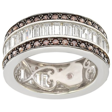 Sterling Silver Cubic Zirconia Brown and White Baguette Eternity Band