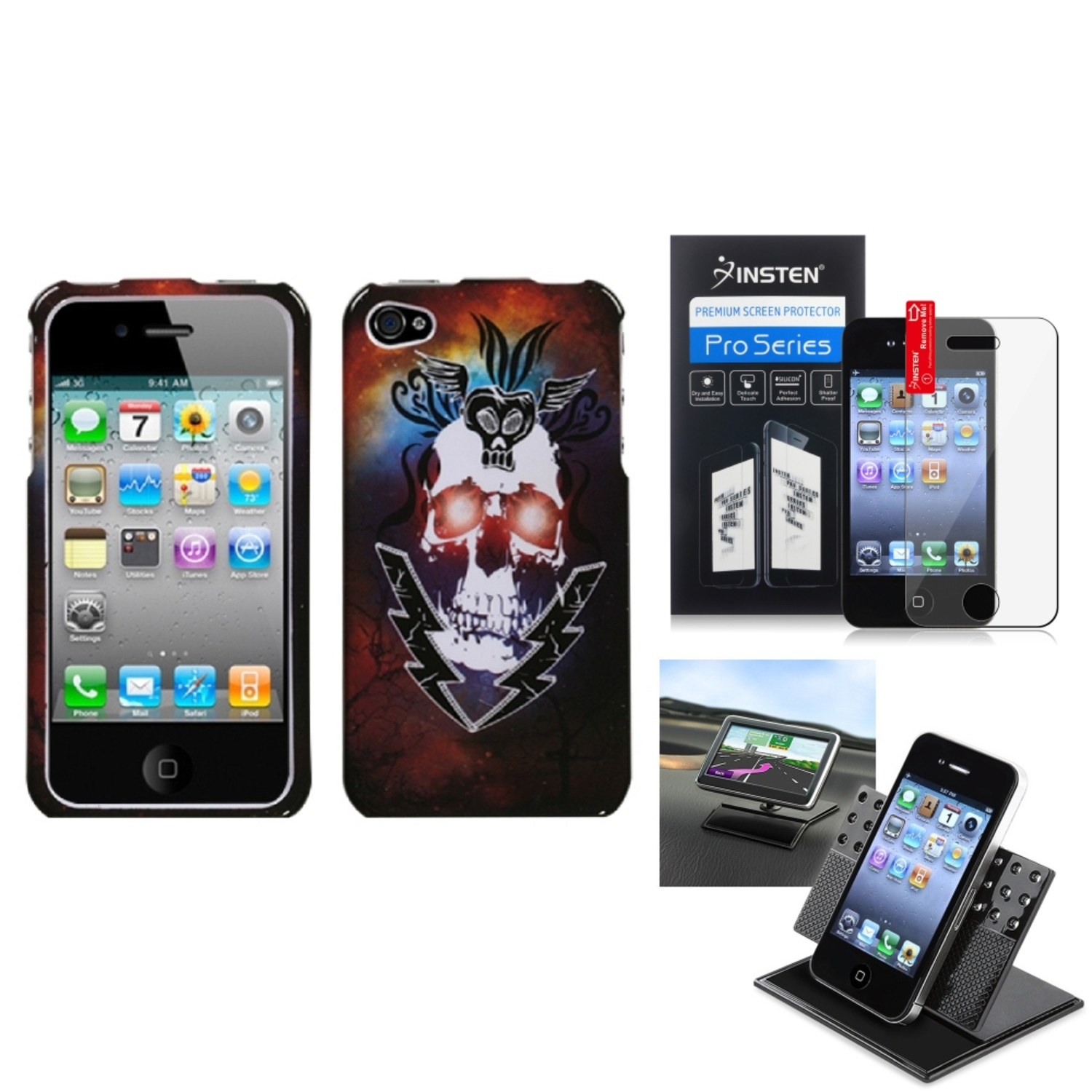 Insten Film Holder Lightning Skull Phone Case Cover For APPLE iPhone 4S/4