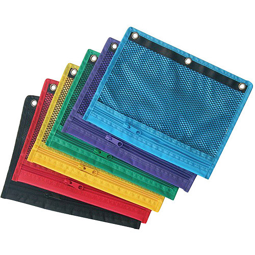 School Smart Zippered Mesh Storage Pockets for 3-Ring Binders, 12-Pack