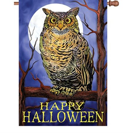 Premier Kites & Designs 28 Inch Halloween House Flag - Owl and Moon Halloween - Halloween Owl Cookies