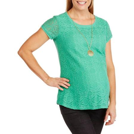 488b66c71ee Faded Glory - Maternity Short Sleeve Lace Front T-Shirt - Walmart.com