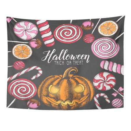 Halloween Candy Quotes (REFRED Halloween Celebration Colored Candies and Pumpkin Hand Made Quote Trick Treat Lettering Wall Art Hanging Tapestry Home Decor for Living Room Bedroom Dorm 51x60)