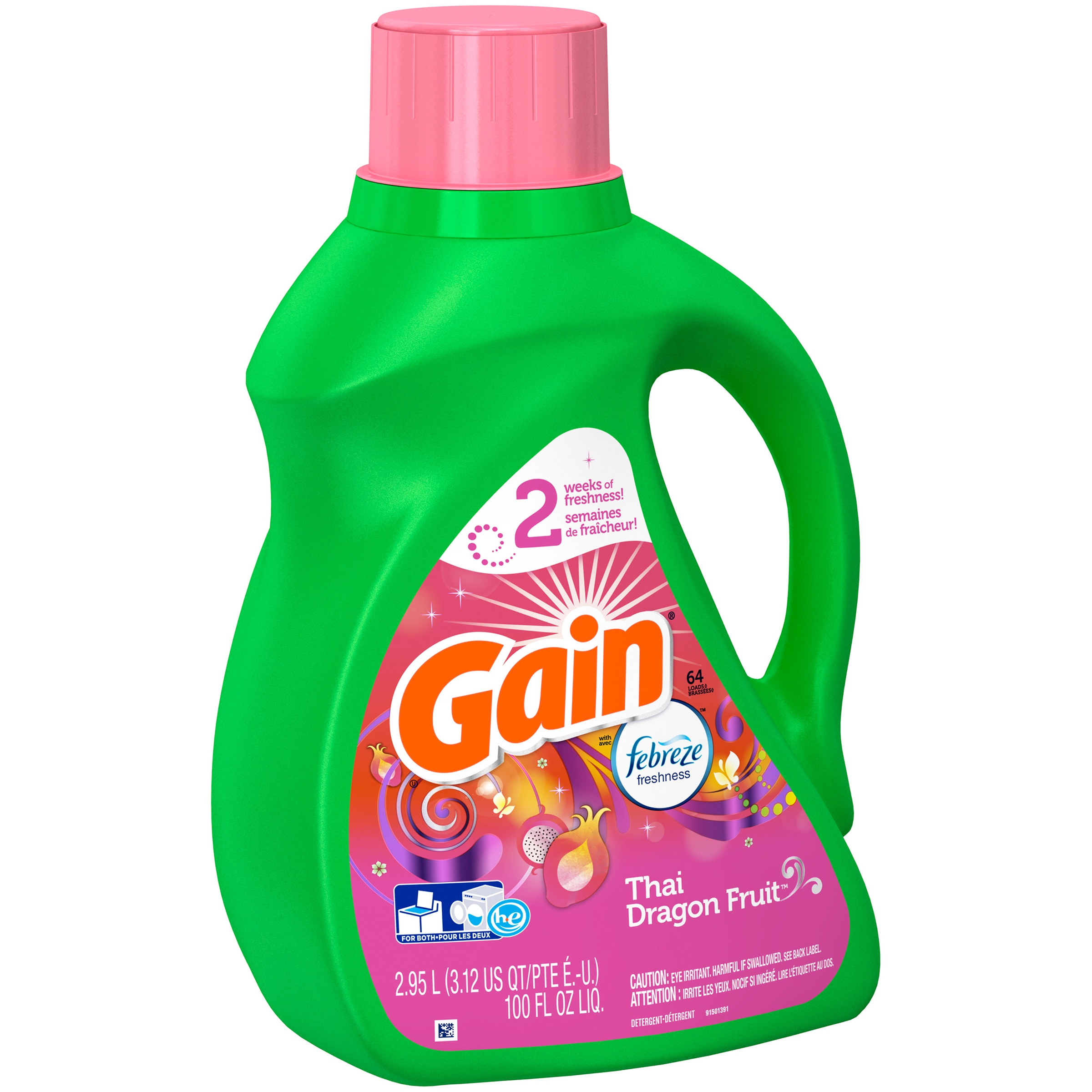 Gain with Febreze Thai Dragon Fruit Liquid Laundry Detergent 100 fl. oz. Plastic Jug