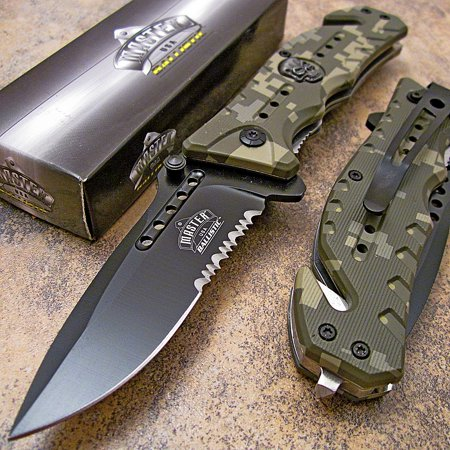 Master Digital Camo Skull Medallion Tactical Rescue Spring Assisted Pocket (Tactical Rescue Knife)