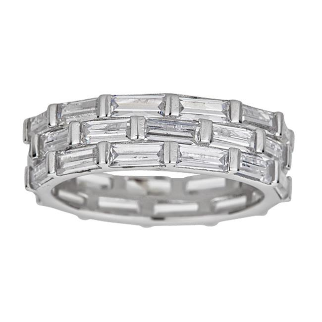 YGI SZR4122W2W-9 Sterling Silver Rhodium Baguette Cut Eternity Ring, Size - 9 - image 1 of 1