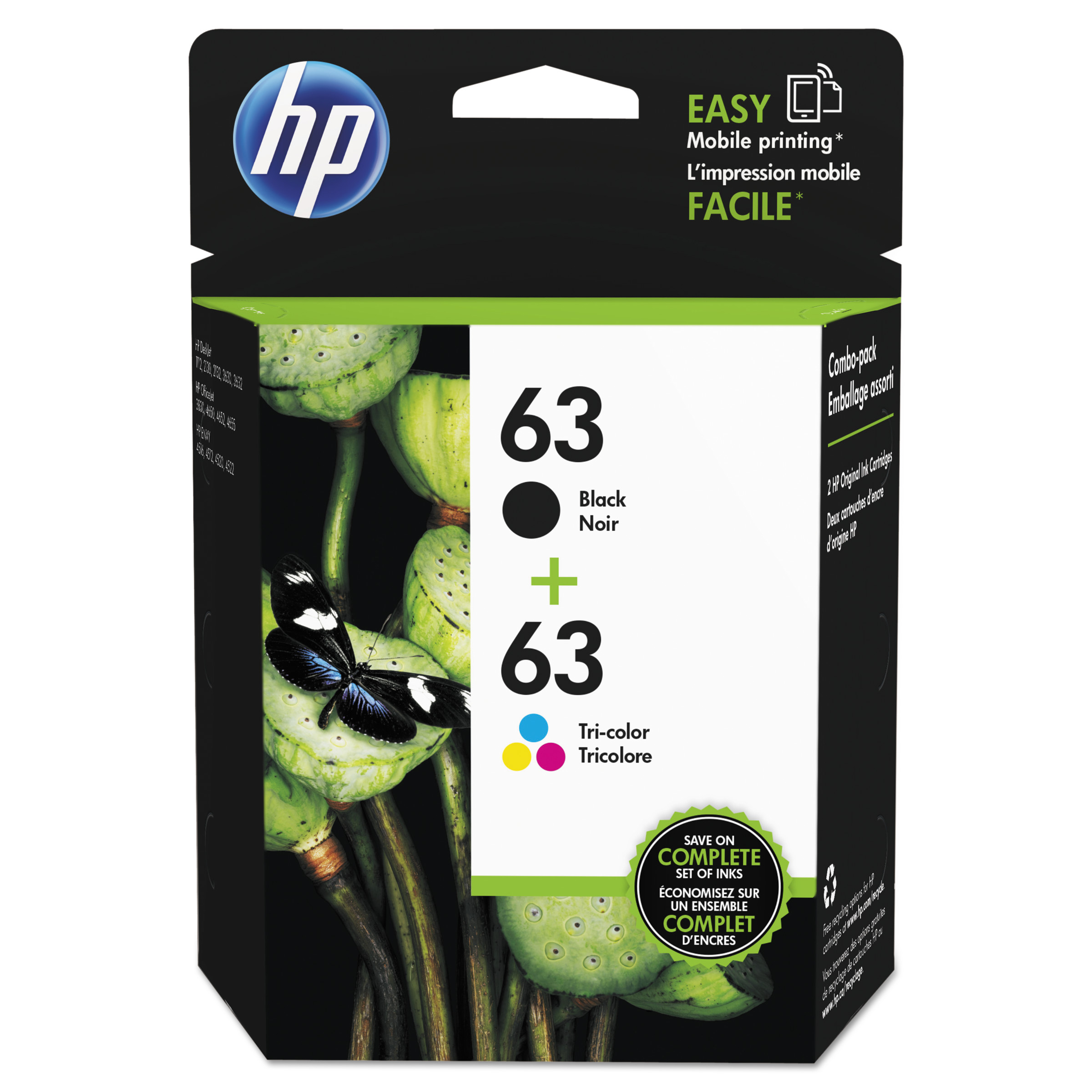 HP 63 Black & Tri-color ink cartridges, 2-Pack (L0R46AN)