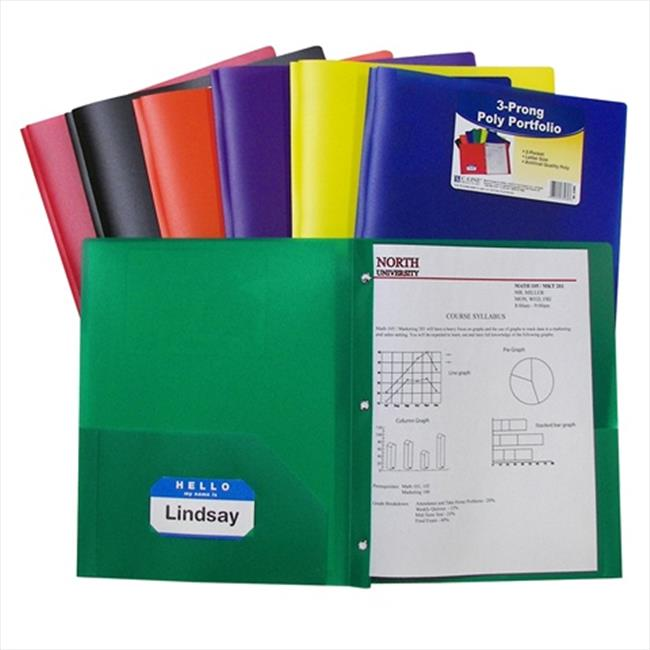 C-Line Products 33960BNDL12EA Two-Pocket Heavyweight Poly Portfolio Folder with Prongs  Primary Colors - Color May Vary - Set of 12 Folders - image 1 of 1
