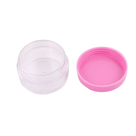 008563c5b50d Women Plastic Round Shaped Cosmetic Makeup Container Case Cover Pink Clear  2 Pcs