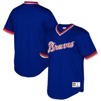 Atlanta Braves Mitchell & Ness Cooperstown Collection Mesh Wordmark V-Neck Jersey - Royal
