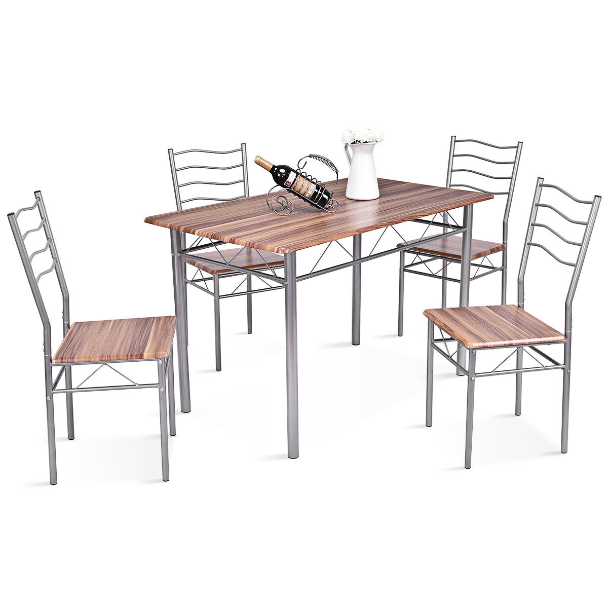 Gymax 5 Piece Dining Set Beech Wooden Color Table And 4