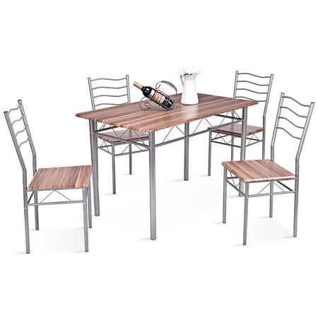 Gymax 5 Piece Dining Set Beech Wooden Color Table And 4 Chairs Kitchen Dining Room (New Dining Room)