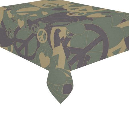 Camouflage Table Decorations (MYPOP Camouflage Camo Print Cotton Linen Tablecloth Set 60x84 Inches - Woodland Green Desk Table Cloth Cover for Holiday Party)