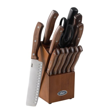 Oster Whitmore 14-Piece Cutlery Set with Black Walnut Handle and Rubber Wood Block,