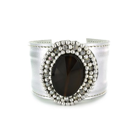 Onyx Colored Stone And Adjustable Silver Colored Cuff