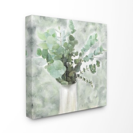 The Stupell Home Decor Sage Green Painterly Eucalyptus In White Vase Canvas Wall Art
