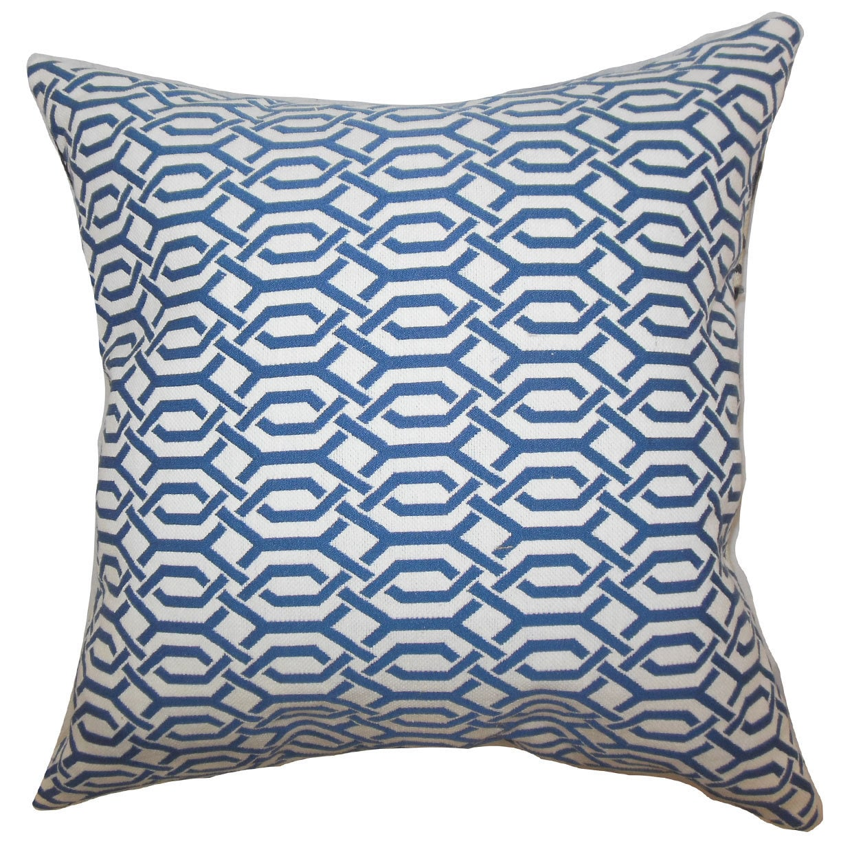 The Pillow Collection Catriona Geometric 22-inch Down Feather Throw Pillow Blue