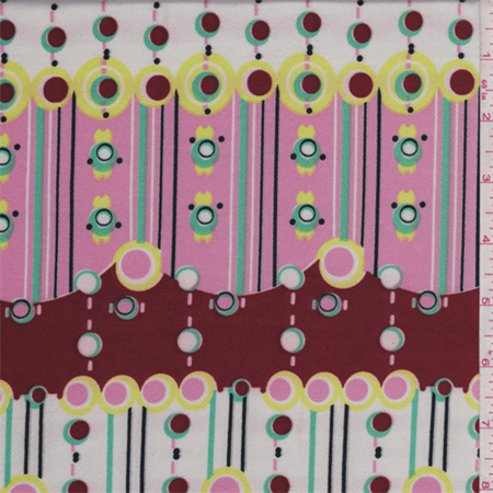 Satin Print Fabric - Brick/Pink/White Circle Print Satin Charmeuse, Fabric Sold By the Yard