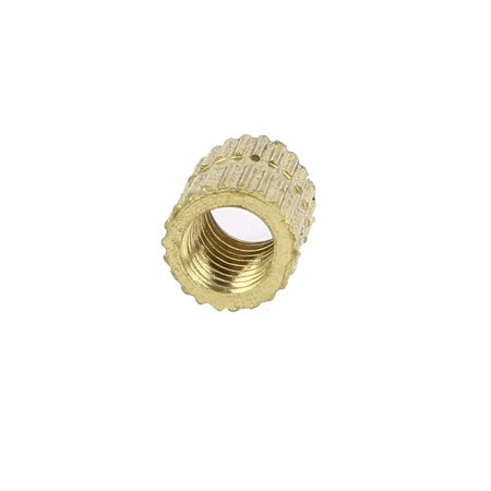 M5 x 8mm x 6.8mm Brass Injection Molding Knurled Threaded Insert Nuts 100PCS - image 2 of 3