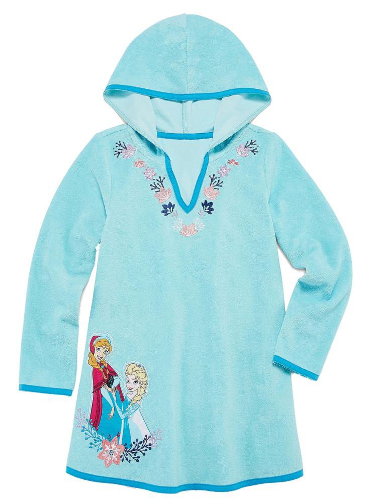 Disney Frozen Toddler Girls Blue Terry Elsa & Anna Swim Suit Cover Up Dress