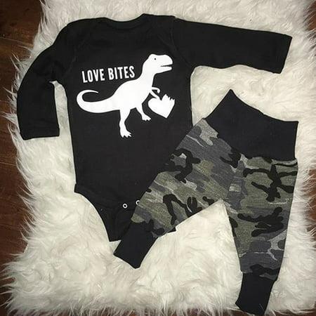 2pcs Casual Newborn Infant Baby Boy Dinosaur Tops Romper Camo Pants Outfits Set Clothes 0-3 Months
