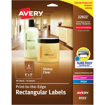 Avery Glossy Clear Rectangle Labels, Sure Feed Technology, Laser/Inkjet, 2