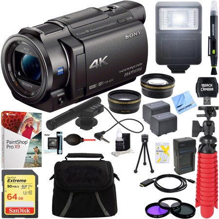 Sony FDR-AX33/B - 4K Camcorder with Mini Zoom Microphone + 64GB SDXC Memory Card + 0.43x Wide Angle + 2.2x Telephoto Lens Converter + Carrying Bag + Card Reader + Microfiber Cloth +