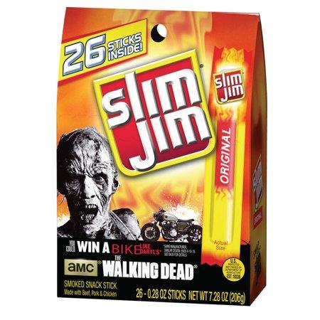 Slim Jim Original Smoked Snack Sticks, 0.28 oz, 26 ct