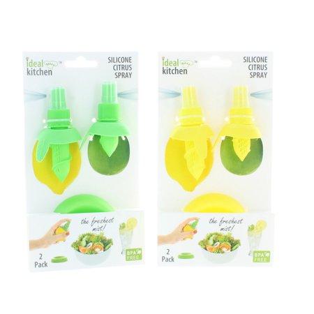 - 2 Yellow & 2 Green Citrus Sprayers W/Trays Fresh Fruit Lemon Lime Flavor Spritz