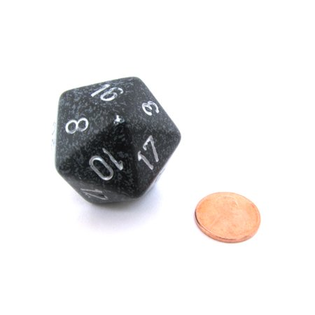 Chessex 34mm Large 20-Sided D20 Speckled Dice, 1 Die - Ninja #XS2072