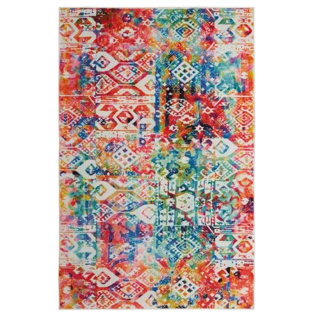 Mohawk Prismatic Area Rugs - Z0023 A416 Contemporary Olive Green / Pink Bleached Tie-Dye Dots Streaked Rug (Contemporary Olive Green)