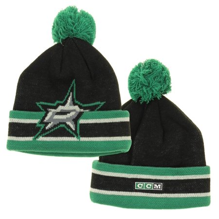 NHL Reebok Dallas Stars Youth Deke Cuffed Knit Winter Hat With Pom, Black Dallas Stars Hat