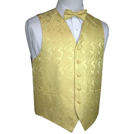 Gold Vest (Italian Design, Men's Tuxedo Vest, Bow-tie - Gold)