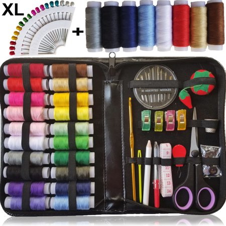 SEWING KIT, XL Quality Sewing Supplies, 28 XL Spools of Thread, XL sewing kit for DIY, Beginners, Emergency, Kids, Camping, Travel, students, dorm and - Beginner Sewing