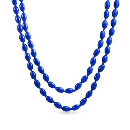 Reconstituted Gemstone Long Beaded Oval Strand Necklace 46in
