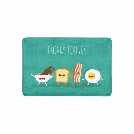 MKHERT Funny Breakfast Food Friends Forever Egg Bacon Toast Doormat Rug Home Decor Floor Mat Bath Mat 23.6x15.7 inch