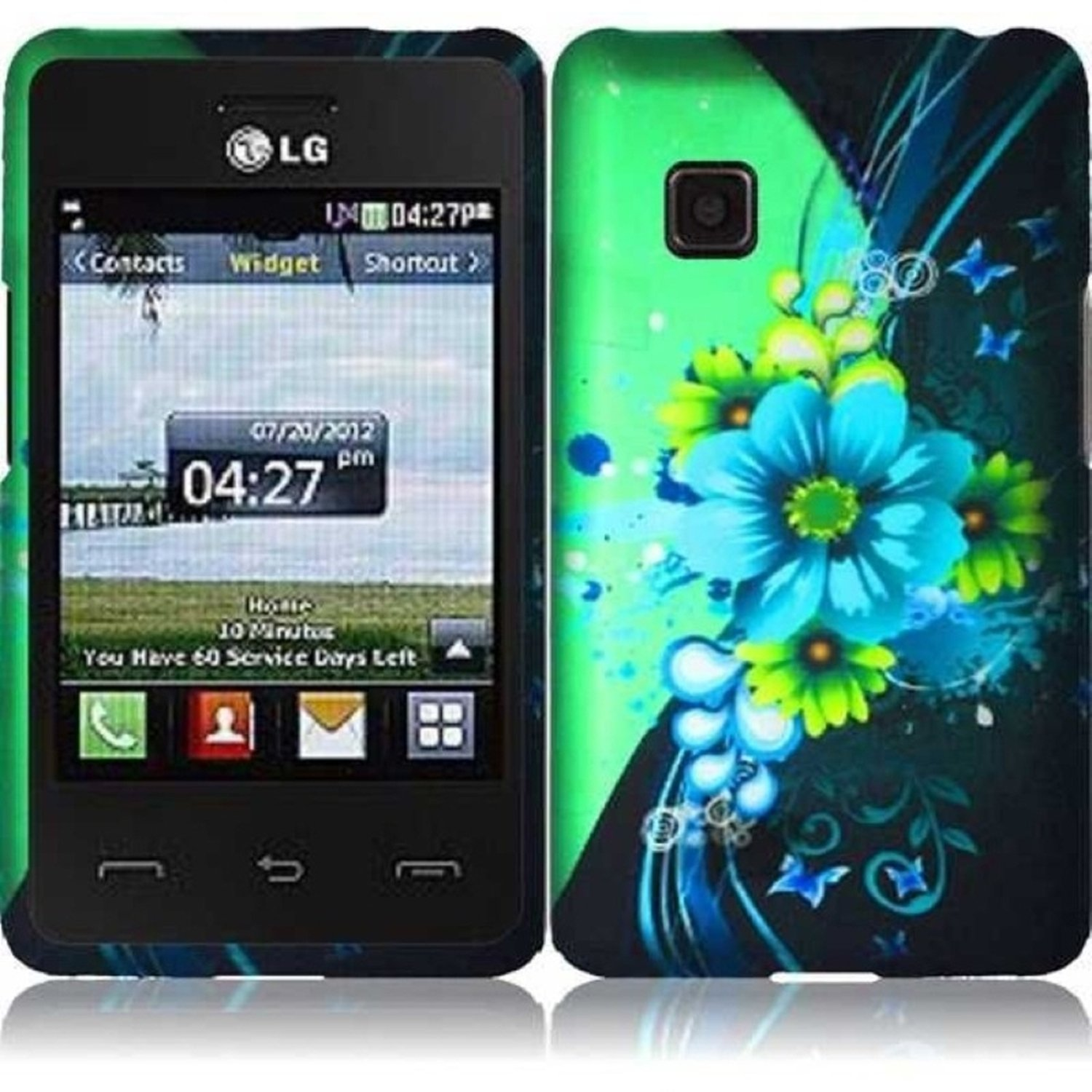 Design Rubberized Hard Case Cover + Screen Protector for LG 840G - Green Flower