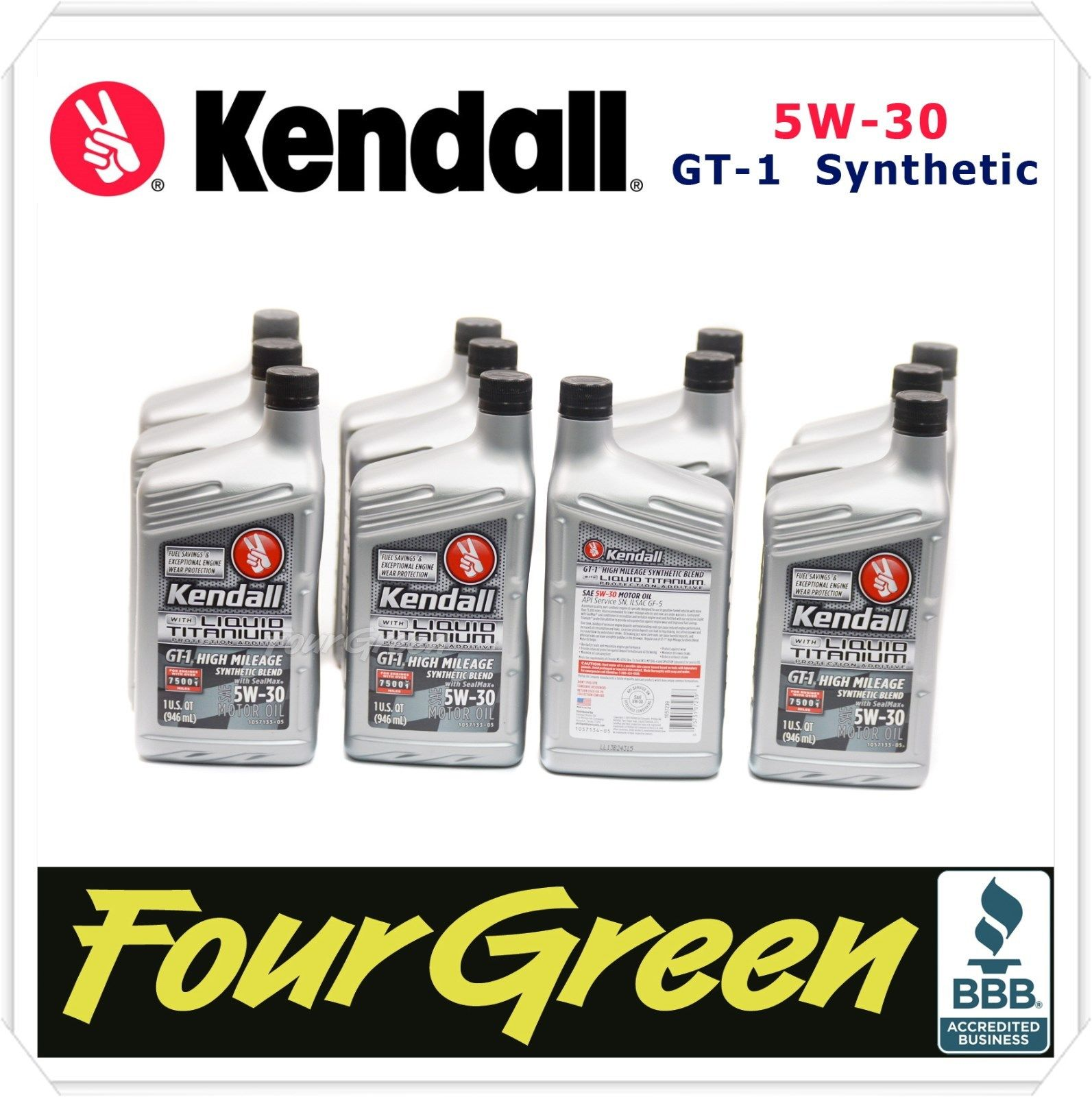 Kendall Engine Motor Oil 5w30 GT-1 Synthetic Blend High Mileage 12QRTS