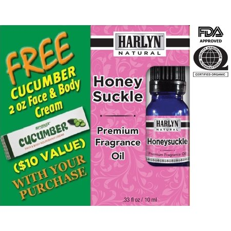 Best Honeysuckle Fragrance Oil 10 mL - Top Scented Perfume Oil - Premium Grade - by Harlyn - Includes FREE Cucumber Face & Body Nourishing