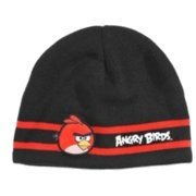 Angry Birds Mens Reversible Black & Red Knit Bird Beanie Stocking Cap Winter Hat