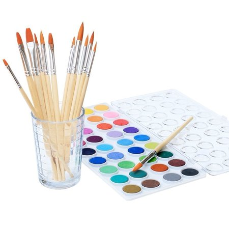 Watercolor Art Lesson - Watercolor Artist set, 36 Colors, Includes a Variety of 12 Quality Brushes, Everything You Need to Get Started! Brushes Works Great For Watercolor and Acrylic