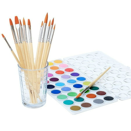 Watercolor Artist set, 36 Colors, Includes a Variety of 12 Quality Brushes, Everything You Need to Get Started! Brushes Works Great For Watercolor and