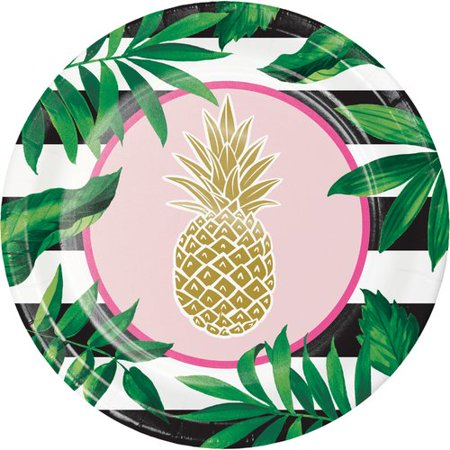 Golden Pineapple Paper Banquet Plates, 24-Pack ()