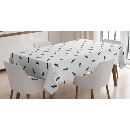 Mens Tablecloth, Repeating Men Moccasin Pattern Monochrome Casual Fashion Elements Composition, Rectangular Table Cover for Dining Room Kitchen, 52 X 70 Inches, Black and White, by (70's Mens Fashion)