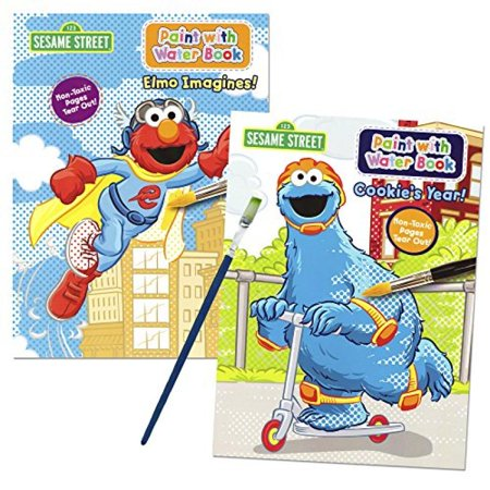 - Sesame Street Paint With Water Books with Paint Brush (2 Books, 1 Green-Tip P...