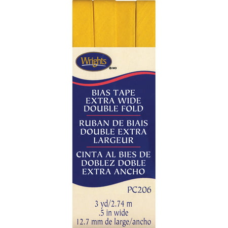 """Wrights Double Fold Bias Tape 1/2""""X3yd-Yellow"""