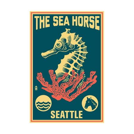 Seattle, Washington - Seahorse Woodblock (Blue and Pink) Print Wall Art By Lantern (Seattle Washington Mall)