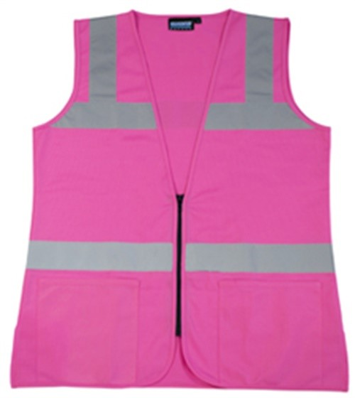 ERB Safety S721 Pink Non-Ansi Tricotadies Fitted Vest Pink - Zipper